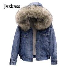 Jvzkass 2019 new big fur collar lamb fur coat women short cotton jacket hooded plus velvet thick denim clothing loose cotton winter Z110 цена 2017