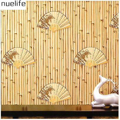0.53x10m fan pattern wallpaper study room restaurant background wall decoration bamboo pattern Chinese style classical wallpaper