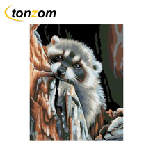 RIHE Amused Raccoon Diy Painting By Numbers Abstract Animals Oil Painting On Canvas Cuadros Decoracion Acrylic Wall Art Gift rihe amused expression diy painting by numbers abstract cute cat oil painting on canvas cuadros decoracion acrylic wall art