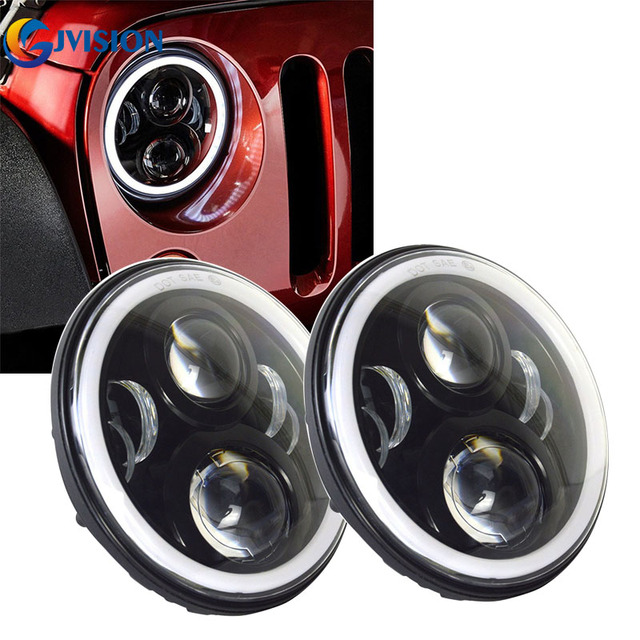 2PCS 7'' Halo Angel eyes DRL Amber turn signal led headlight for 07-15 Jeep Wrangler JK TJ Hummer 7 inch 50W H4 Auto headlamp