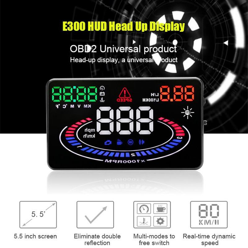 New Multi-function 5.5 Inch HUD Car Head Up Display Auto Display Projector Over Speed Alarm 2D Vision Reflection OBD2 Interface