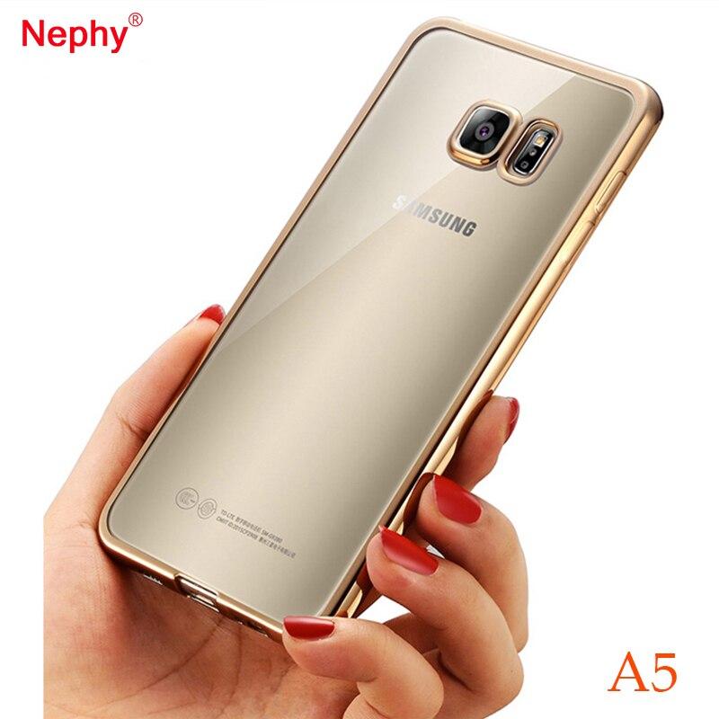 Nephy позолота Рамки прозрачный силиконовый чехол для телефона для Samsung <font><b>Galaxy</b></font> <font><b>A5</b></font> A500 2015 A510 2016 A520 2017 крышка тонкая свет ТПУ сумка