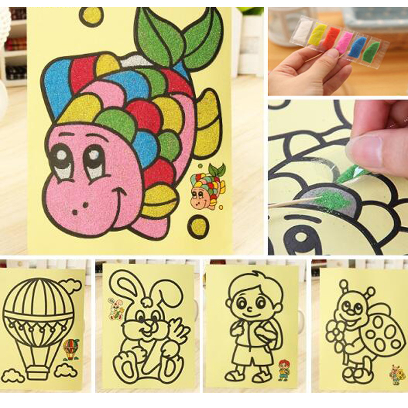 5pcs/lot Kids DIY Color Sand Painting Art Creative Drawing Toys Sand Paper Learn to Art Crafts Education Toys for Children 6pcs bag kids diy stamp education toy cartoon princess painting stamps children school art tool self inking of party toys set
