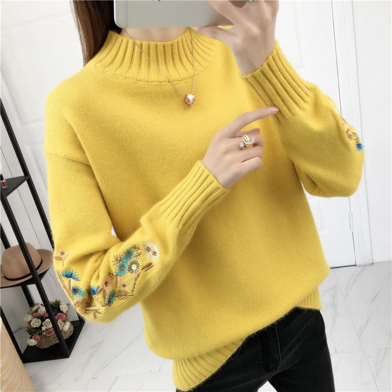 Semi-high collar sweater thicker winter short sweetened bottom knitted sweater