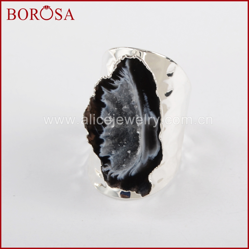Image 3 - BOROSA 5/10PCS Elegant Silver Color Freeform Natural Crystal  Agates Druzy Slice Open Band Rings Gems Party Rings Jewelry S1388band  ringfashion ringsring fashion