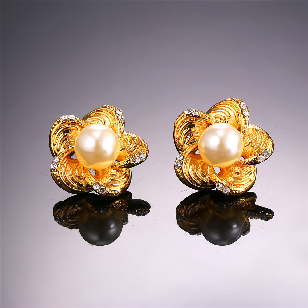 with in freshwater from for color item gold fashion pearl flower pearls plated simulated stud trendy earrings new women jewelry real
