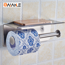 Stainless Steel Luxury Bathroom Toilet Paper Holder Bathroom Shelf 2 Roll Holder with Mobile Phone Storage Shelf Rack