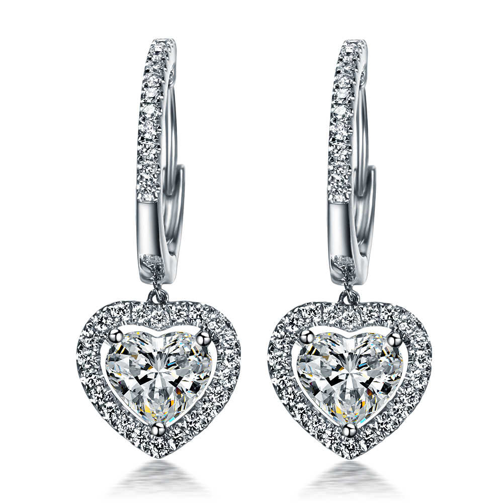 1.5Ct cada Formato de Coração Diamantes Sintéticos Brincos eardrop para As Mulheres Spiffing Brincos Estilo Hot Jóias de Casamento Do Sexo Feminino