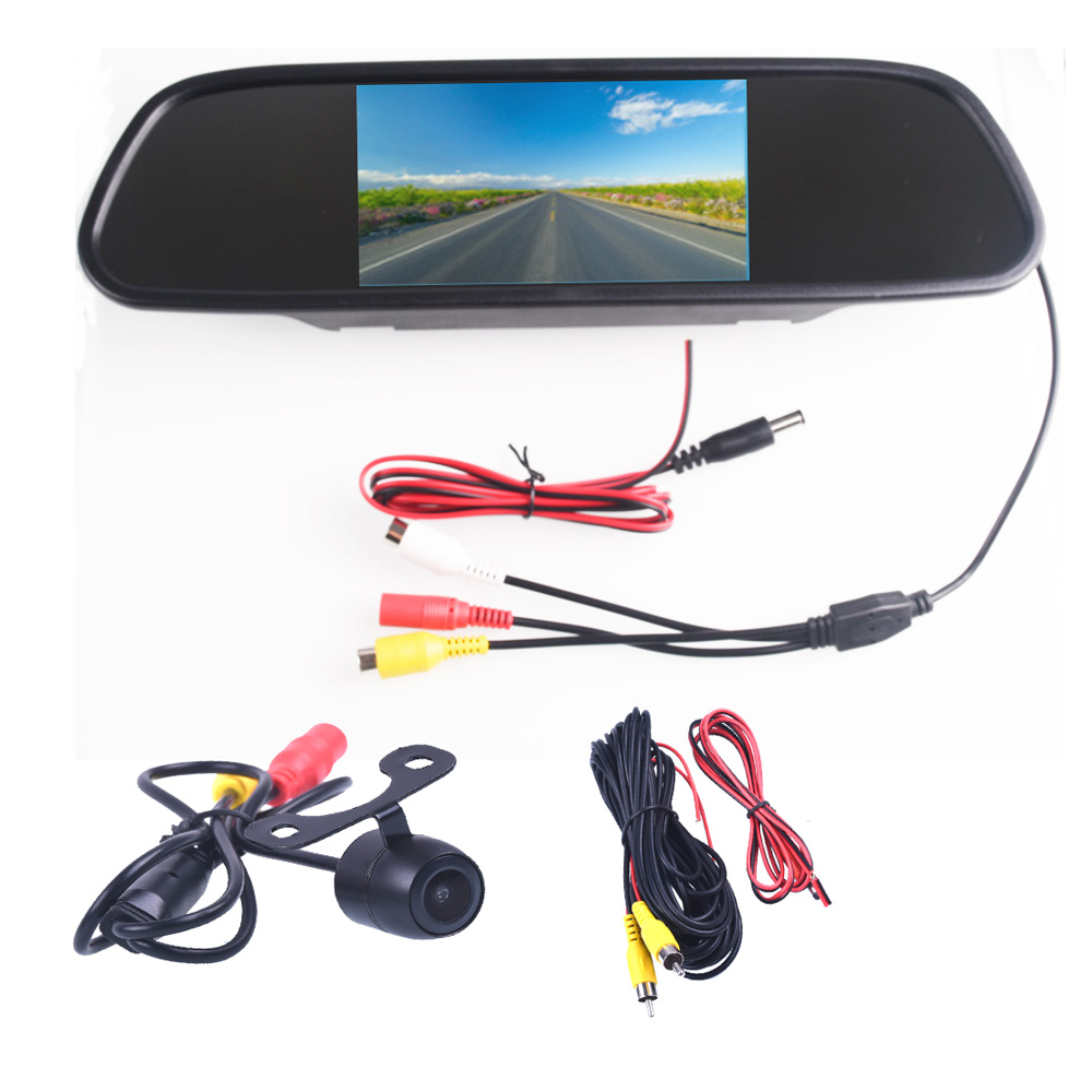 5 0 5 0 Inch TFT LCD Color Car Rear View Mirror Monitor Video DVD Player