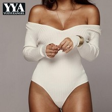YueYueAngel 2019 Long Sleeve Off Shoulder Ribbed Knitted Sexy Women V Neck Autumn