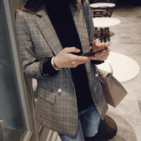 2018 Spring And Autumn New Slim Size S XL Long Casual Suit Plaid Small Suit Jacket