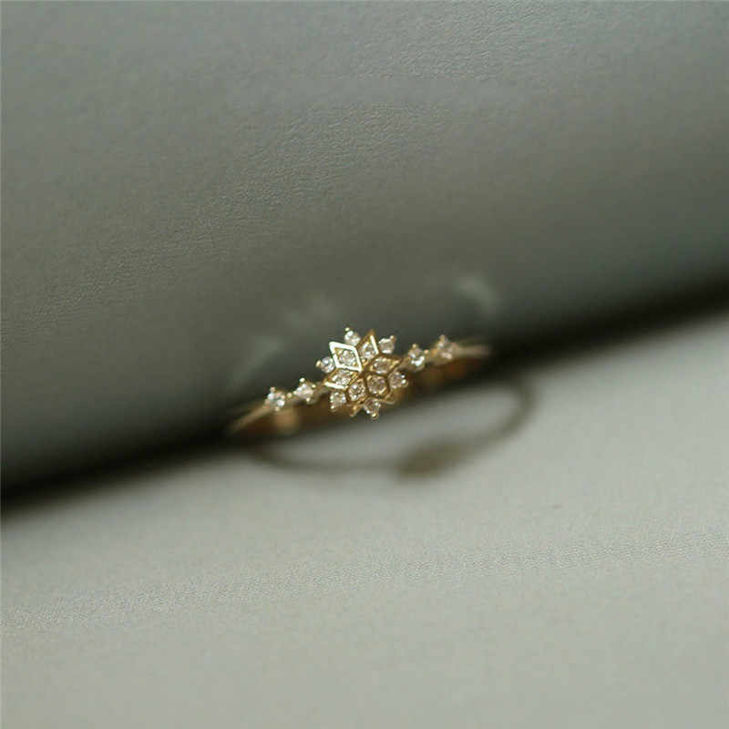 ROMAD Cute Women's Snowflake Rings Female Chic Dainty Rings Party Delicate Rings Wedding Jewelry 3 Colors Size 5-11 R4