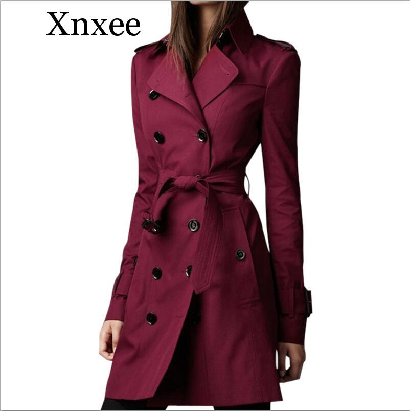 Xnxee Women Spring Autumn   Trench   Coat Fashion Casual Long Sleeve Slim Double Breasted Female Clothes Long   Trench   Windbreaker