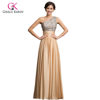 Luxury 2015 Grace Karin One Shoulder Sequins Long Formal Gold Evening Dress Party Dress Floor Length