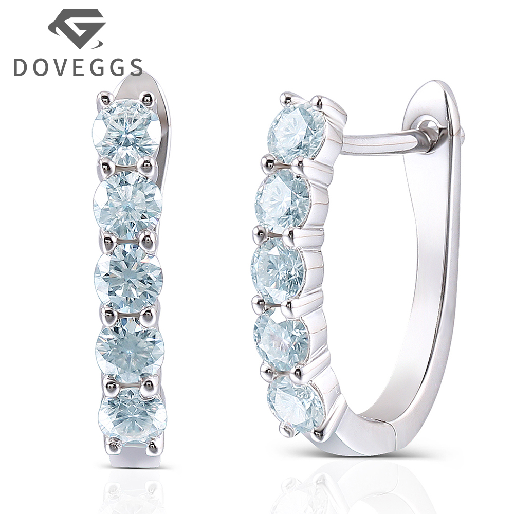 DOVEGGS 1.6CTW 3.5MM Slight Blue Moissanite Simulated Diamond Huggie Earrings U Hoop Earrings Platinum Plated Silver geometric shaped silver plated blue diamond earrings