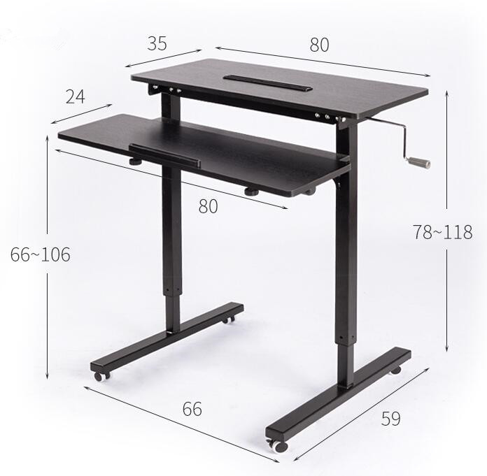 Hauteur Réglable Sit Stand Bureau avec Heavy Duty Cadre En Acier Mobilier de Bureau Table D'ordinateur portable Debout Bureau Support Pour Ordinateur Portable