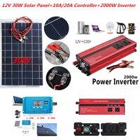 30 Вт Солнечный Системы комплект 12 В Панели солнечные с контроллером 12 В 24 В инвертор полу гибкие солнечные Батарея для автомобиль Лодка мига