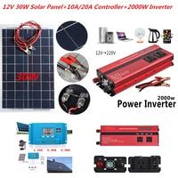 30W Solar System Kit 12V Solar Panel with Controller 12V 24V Inverter Semi Flexible Solar Battery for Car Boat Emergency Lights