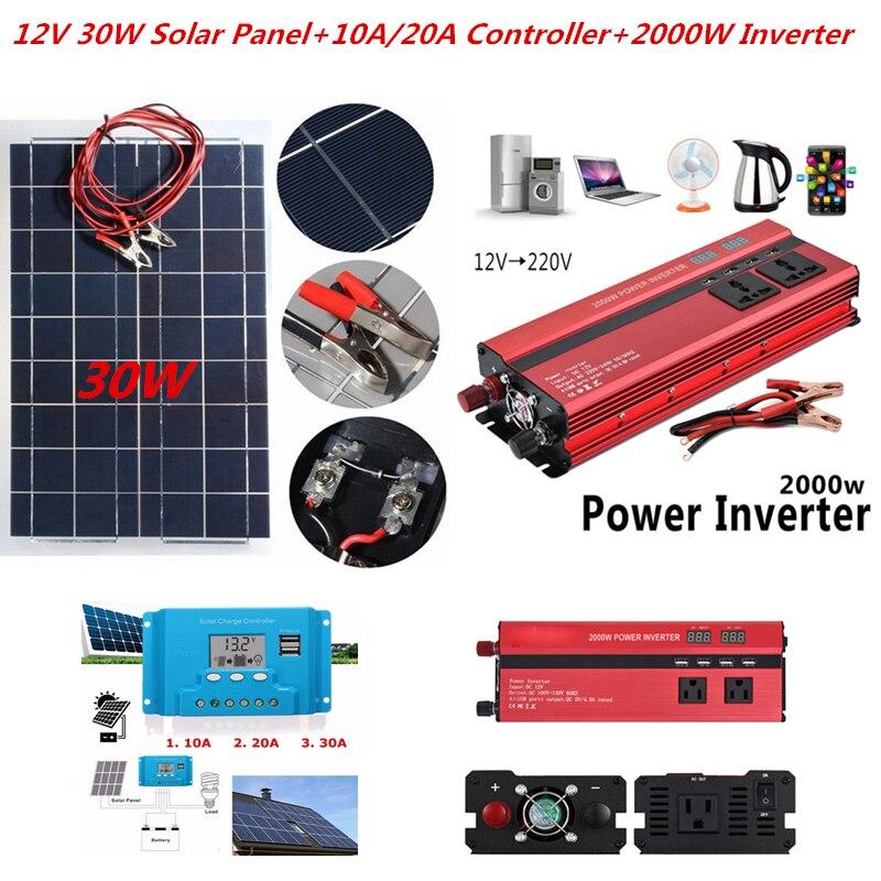 Panneau solaire du Kit 12 V de système solaire 30 W avec le contrôleur batterie solaire Semi Flexible d'inverseur de 12 V 24 V pour des lumières de secours de bateau de voiture