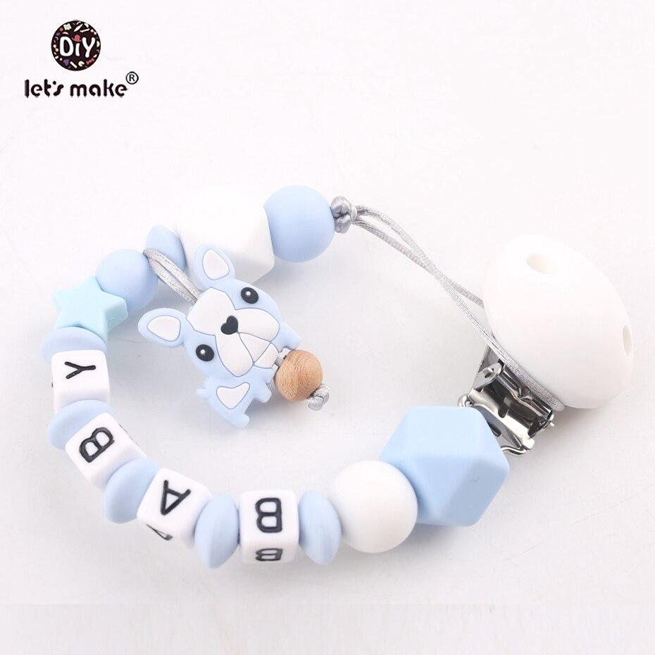 Hagamos 1 unid nombre personalizado Clip alimentos Grad silicona masticar perlas de dentición DIY bebé dentición chupete clips cadenas
