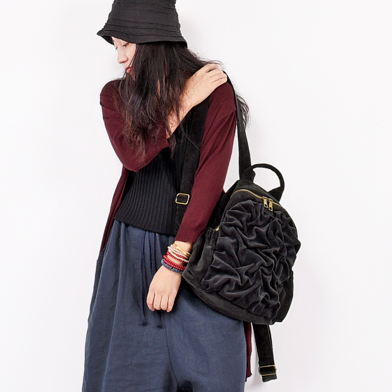 Corduroy Backpack Notebook-Bags Shoulder-Bag Female Girls School Women for Preppy-Style