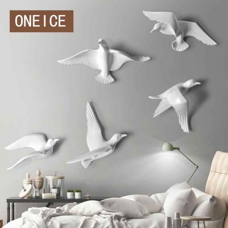3d Resin Birds Creative Wall Murals Sculptures Simple Three-dimensional Bedroom Wall Stickers Tv Background Wall Decorations