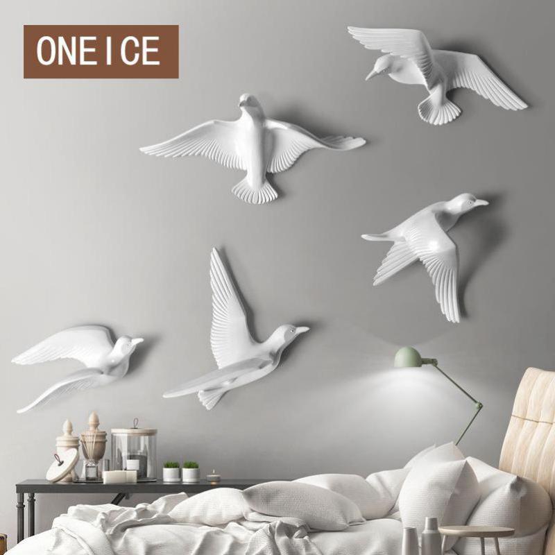3d In Resina Uccelli Da Parete Creativo Murales Sculture Semplice ...