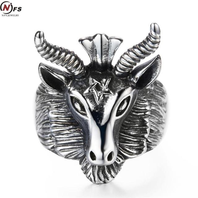Nfs Vintage Stainless Steel Satan Worship Baphomet Ram Aries Zodiac Sheep Goat Head Horn Biker Ring