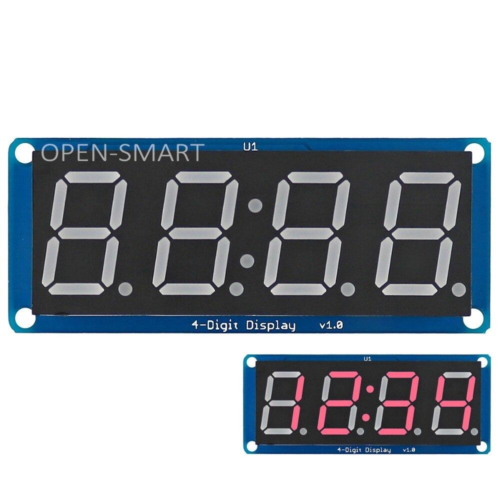 0.56 Красный светодиод 4-цифра Дисплей модуль 7-сегментный 4 биты цифровой пробки светодиодный дисплей с часами точка для Arduino/RPI/AVR/arm