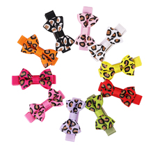 Mini Dogs Bow Hairgrips Girls Leopard Printing Whole Wrapped Safety Hair Clips Kids Hairpins Accessories