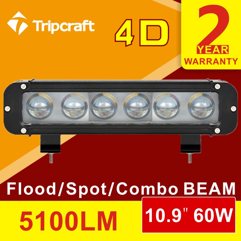 10.9inch 60w led light bar offroad 4D lamp for Truck Boat Ute Car SUV ATV Work Light Bar 4WD spot/flood/combo led drving light
