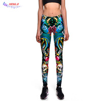 Free Shipping Wholesale And Retail 2017 New Personalized Color Printing Ladies Size Nine Waist Hip Pants