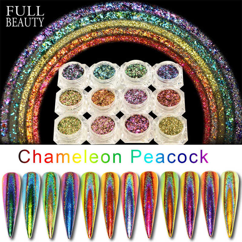 0.2g Peacock Holographic Chameleon Nail Sequins Colorful Laser Glitter Powder Dust Nail Art Decorations Pigment CHQC01-12-1
