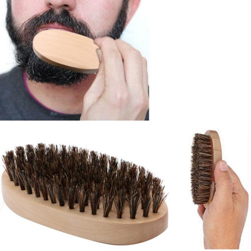 Hot Sale Beard Brush Men's Fashion Boar Beard Mustache Brush Round Wood Handle Bristle Comb Beauty Care Cosmetic Drop Shipping