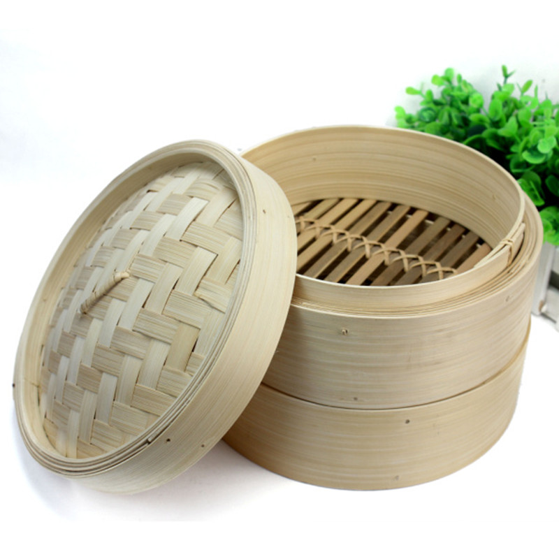 2-Layer Chinese Bamboo Steamer Steamed Buns Dim Sum Rice Kitchen Accessories Cookware With Cover For Cooking Fish Environmental