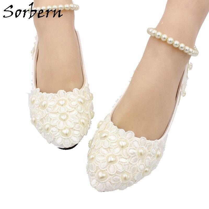 3c1adc24b Sorbern 2018 свадебные туфли белый кружевной аппликацией для Свадебная  обувь Для женщин 1/3/
