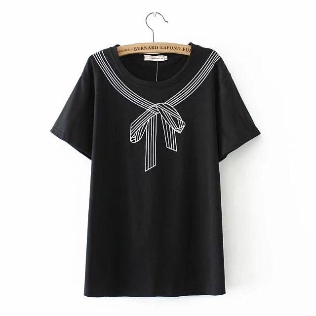 41bccc771bc40 Detail Feedback Questions about Plus size white   black cotton summer women  T shirts 2018 Kawaii bow print tshirt O Neck short sleeve ladies top female  4XL ...