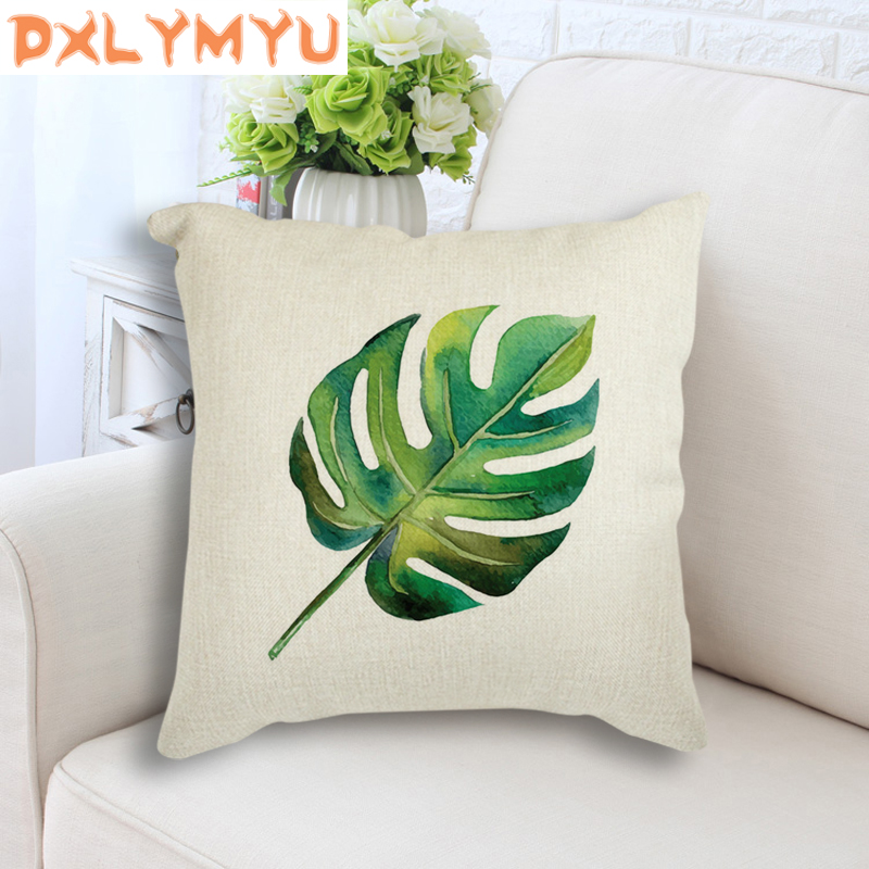 Nordic Art Cushion Throw Pillows 45Cmx45Cm For Sofa Bed Tropical Plant Leaves Minimalism Printed Decorative Cushion Home Decor