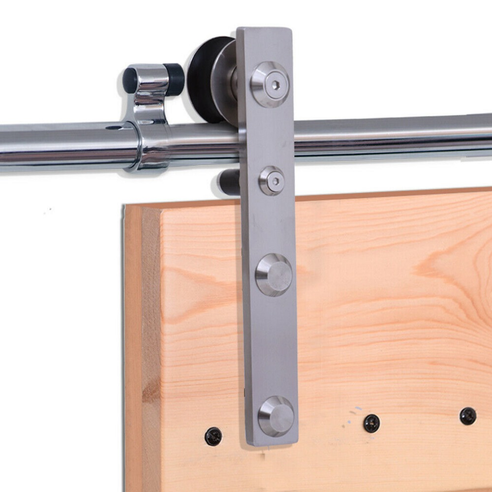 LWZH 10-16FT J-Shaped Silver Modern Stainless Steel Puerta Corredera Wooden and Glass Sliding Door Hardware Kit for Double Door