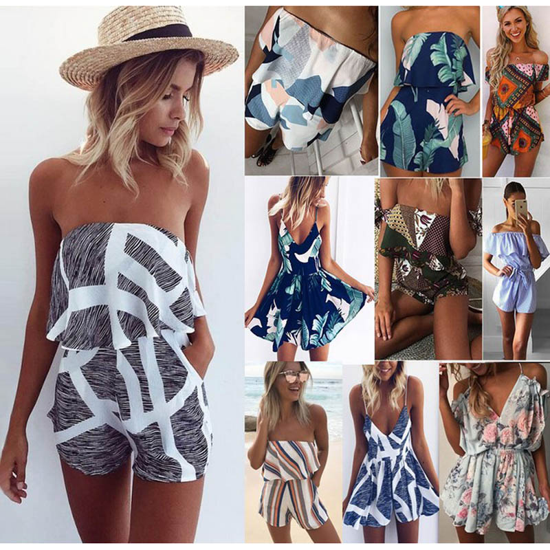 Sexy floral ruffles jumpsuit women romper summer backless jumpsuit lady new Shorts boho beach jumpsuit coveralls female frock