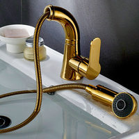 Bathroom Basin Faucet Brass Hair Pull Out Tap Gold/Chrome/Nickel Finished Sink Mixer Tap Toilet Sink Hot and Cold Faucet Crane
