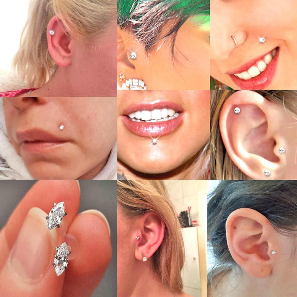 BOG-1PC Horse Eye & Ellipse & Square & Gota de Orvalho & Estrela Flexível Bioplast Labret Stud Lip Anel Tragus Da Orelha cartilagem Da orelha Brinco Piercing