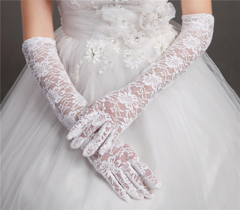 Wedding Gloves For Bride Womens Short Dress Gloves Long White Red Lace White Satin Wedding Accessories Cotton Fingerless Gloves