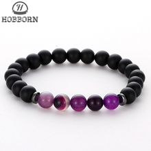 HOBBORN Trendy Handmade Beads Men Bracelet 8mm Natural Stone Chakra Mix Strand Healing Reiki Women Bracelets Meditation Jewelry