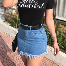 Женская юбка, Джинсовая юбка, faldas jupe femme shein, Женская мини-юбка с высокой талией, с кисточками, на молнии, с карманами, saia, джинсы, feminina#40