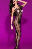 אופנה 2015 חדשים סקסית Cut Out ללא שרוולים להרחיב מפשעת גוף גרבי שקופים עם פסים LC79461