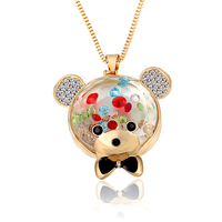 Long Sweater Necklace Crystal Bear Pendent Gold Chain Necklace For Women Girls Fashion Jewelry Necklaces Accessories