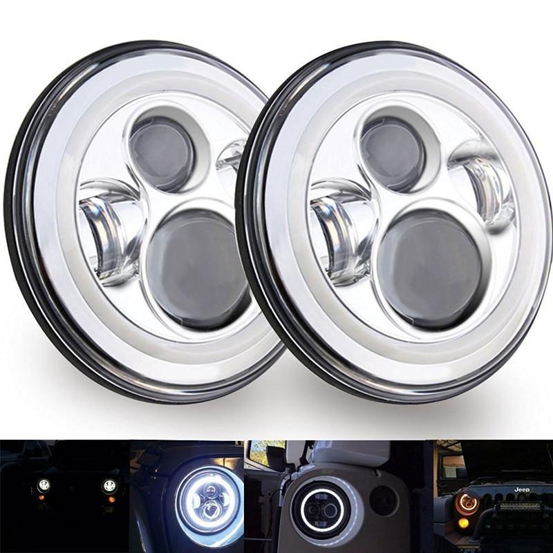 Раунд 7 6500К светодиодный Halo кольцо Ангел глаза DRL проектор фары хром для 07-15 Jeep Вранглер JK, как 2 двери 4 двери