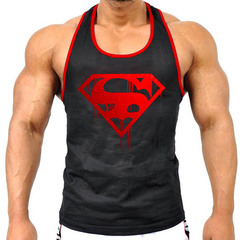 Men/'s Gym Fashion Superman Tank Tops Solid Vests Workout Fitness Sports Clothes