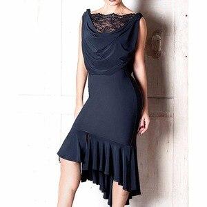 Image 2 - 숙녀를위한 최신 라틴 댄스 드레스 블랙 색상 민소매 내구성 스커트 착용 여성 현대 볼룸 드레스 패션 B013